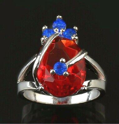 Taille 55_Argent 925 Plaqué_Rubis Rouge_Topaze Bleu_Bague Femme_Silver PL Ring 7