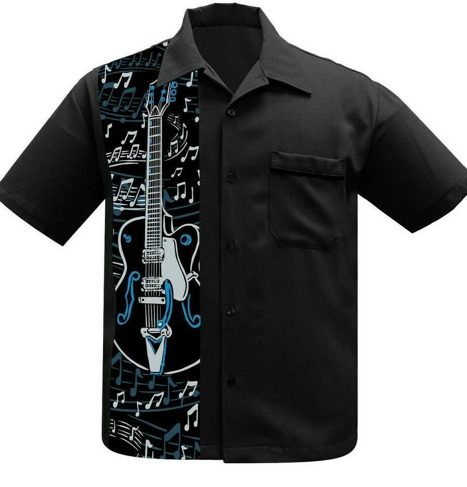 Steady Clothing Retro CLASSIC GUITAR Music NOTE'S Bowling Lo