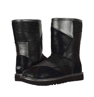 NIB UGG Classic PATCHWORK GLITTER Boots WOMENS 6 7 8 9 BLACK METALLIC RARE!!