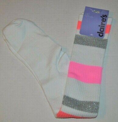 Claire's White, Metallic Silver & Neon Pink Knee High Socks, Size 9-11 - Neon Pink Knee High Socks