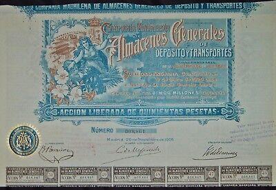 Almacenes Generales de Deposito y Transportes, 1906, Herrliche Aktie aus Spanien