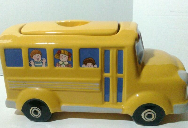 School Bus Cookie Jar Susan Winge Yellow Boston Trading Co. Excellent Condition
