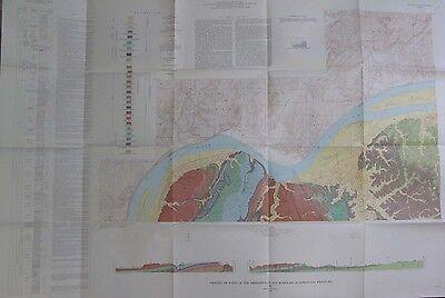 Color Geologic Map Shetlerville Rosiclare Quadrangles Kentucky Carrsville 1964