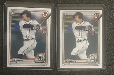 Spencer Torkelson 2020 Bowman Draft 2 Card Rookie Lot Tigers