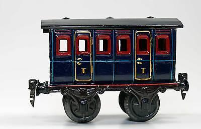 Seltener Uralt Märklin 1855 Spur 1 Personenwagen Abteilwagen 15cm dunkelblau