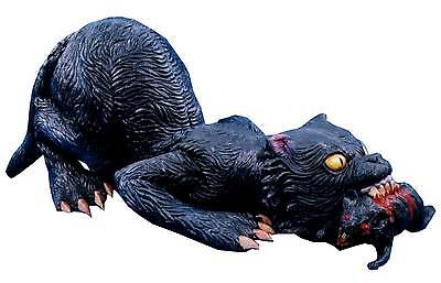 Latex Black GIANT VAMPIRE CAT with RAT Haunted House Halloween Horror Prop-RARE