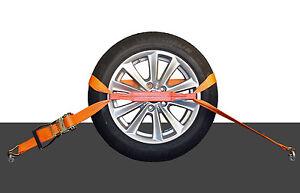 4x 50mm Spanngurt AUTO TRANSPORT Zurrgurt Radsicherung PKW Reifengurt (28)