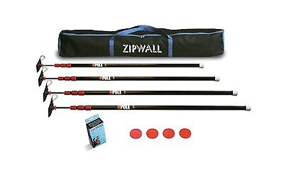 New Zipwall Zp4 Low Cost Spring Loaded Pole Kit With Carry Bag