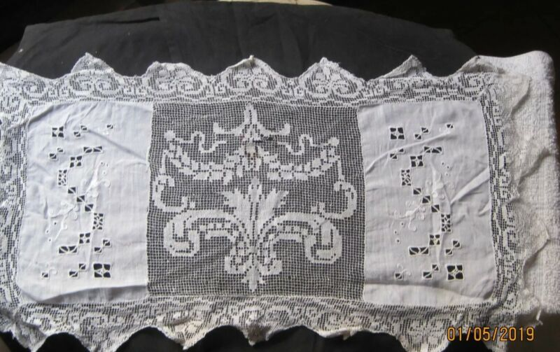 Antique Handmade Lace Runner table cloth