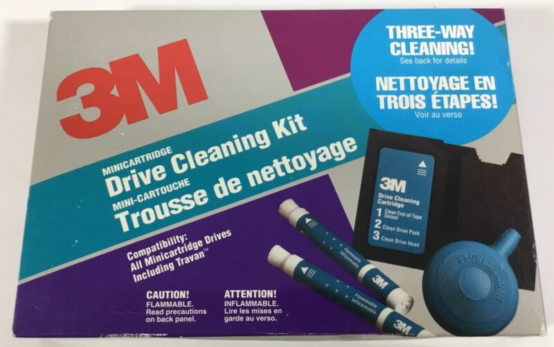 3M Minicartridge Drive Cleaning Kit Three-Way Cleaning GUC 12/20 Wands Remaining