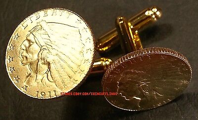 - 1911 American Gold Indian Head $2.5 Quarter Eagle Unique Coin Cufflinks + Box!