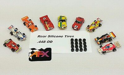 AFX Aurora G-plus 16 silicone tires  HO slot car parts 8 pair lot .448 OD