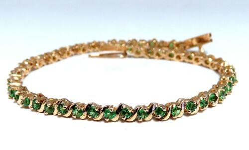 7.06ct Green Natural Garnets Tennis Bracelet 14kt Gold