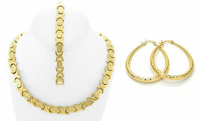 Womens 14K Gold Tone Hugs & Kisses Necklace Bracelet Oval Hoop Earrings XOXO Set