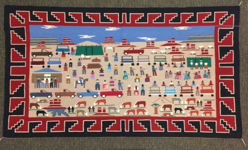 """Rare and Unusual Navajo Village Scene Pictorial Rug by Ella Jean Ben 52"""" x 90"""""""