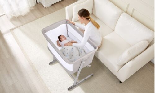 Baby Bassinet with Wheels, Bedside Crib Infants Baby Crib/ Baby Bed Newborn Bed