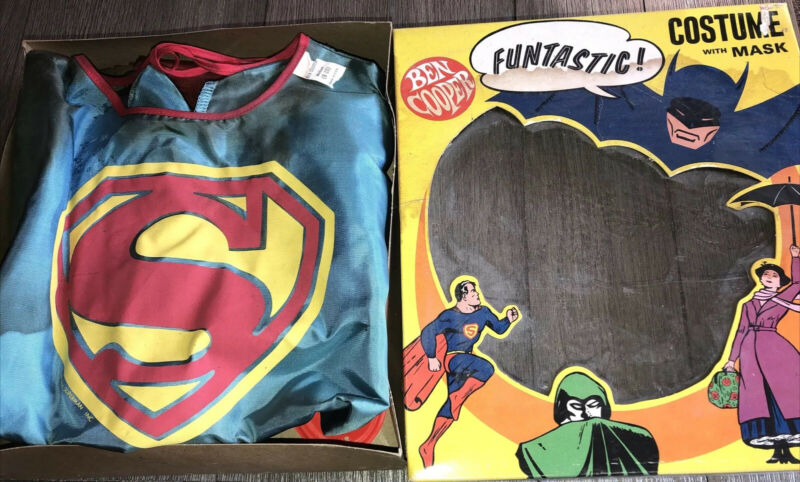 Vintage Ben Cooper Superman Costume With Mask NOS Kids Sz 8-10 In Box 60s