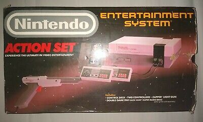NINTENDO NES-001 ACTION SET - COMPLETE IN BOX with 2 games. Clean 1 owner