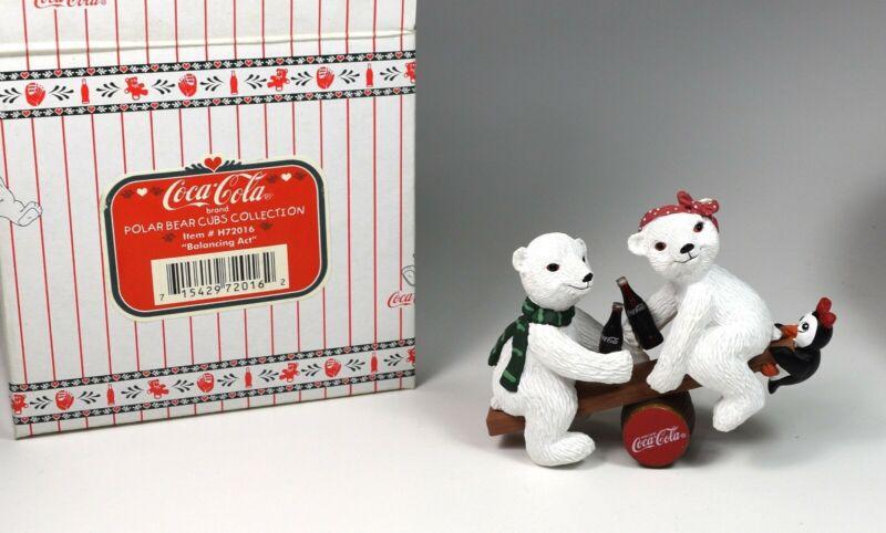 """1996 Coca Cola Polar Bear Cubs """"Balancing Act"""" New in Box-Never Displayed!"""