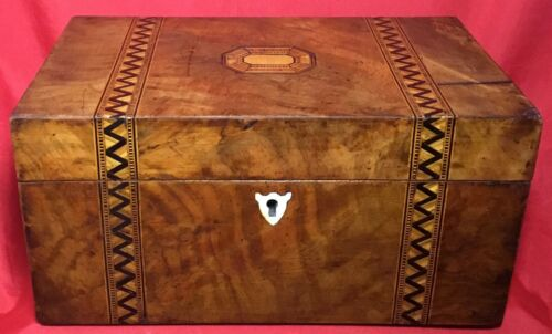 Antique Vintage Wood Wooden Tea Box with Beautiful Inlay Designs