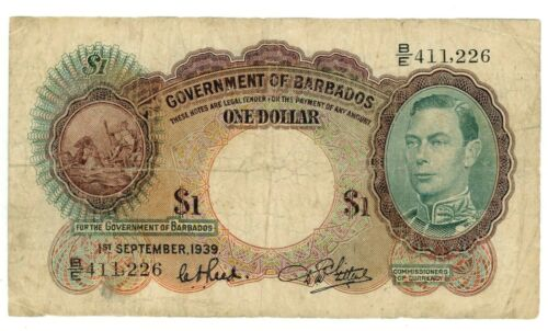 Barbados ... P-2b ... 1 Dollar  ... 1-Sep-1939 ... *F*.
