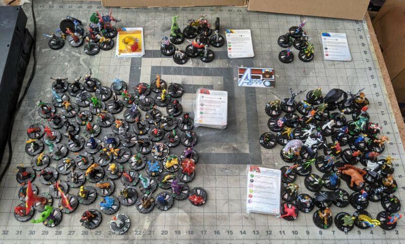 100+ Lot Of Heroclix Super Rare, Rare, Uncommon, Common, and Prime Figures.