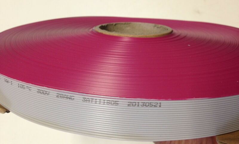 Flat Cable 16 Pins 16 Wires IDC Ribbon 2651  Roll 250 Ft. Long 1.27mm  Pitch