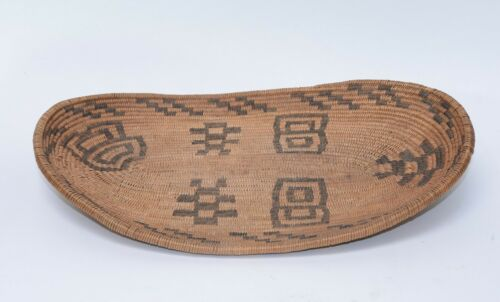 "Antique Basket: Very Fine Weave Havasupai Tray - c. 1890-1900  15"" x 10"""