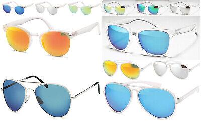Retro Sonnenbrille verspiegelt Damen Herren Wayfarer Pilotenbrille Klar Bügel