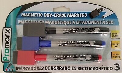 Dry Erase Markers Magnetic Red Blue Black Fine Point W Erasers 3pk