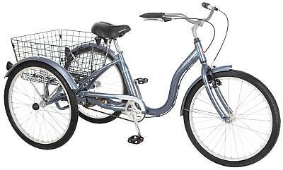 "Schwinn Meridian 24"" Single Speed Bicycle 24"" Uni Adult Trike Slate Blue"