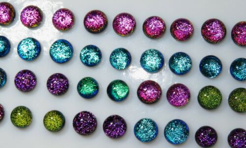 Round 40 Piece 20 sets Dichroic Small Tiny DOT CABOCHONS Earring CABS  8 9 mm