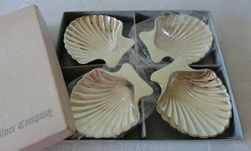 Vintage FB Rogers Silver Silverplate Shell Nut Dishes UNUSED Label Attached BOX