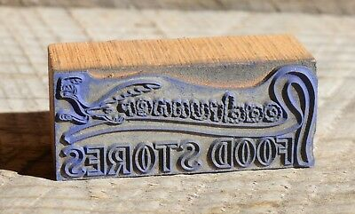Vintage Metal & Wood Letterpress Block of ROADRUNNER Food Stores Roadrunner Bird