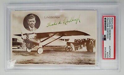Avation Legend Charles Lindbergh Hand Signed Spirt of St.Louis Postcard PSA/DNA