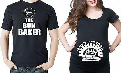 Pregnancy Funny Couple T-shirts  Bun In The Oven Couple Halloween Costume