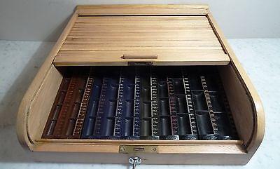 Ältere Tante Emma Laden Buchen Holz Rolladen Kasse mit Bakelit DM Einteilung