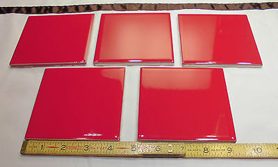 Red Ceramic Tile (5 pcs. Glossy Ceramic Tiles *Ruby Red* by American Olean 4-1/4