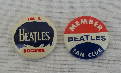 "2 Seltaeb 1964 Vintage Beatles Green Duck Co. Fan Club Pins ""I"