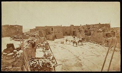 1875 W. H. JACKSON albumen photo MOQUI PUEBLO INDIAN village ARIZONA MESA -Hopi