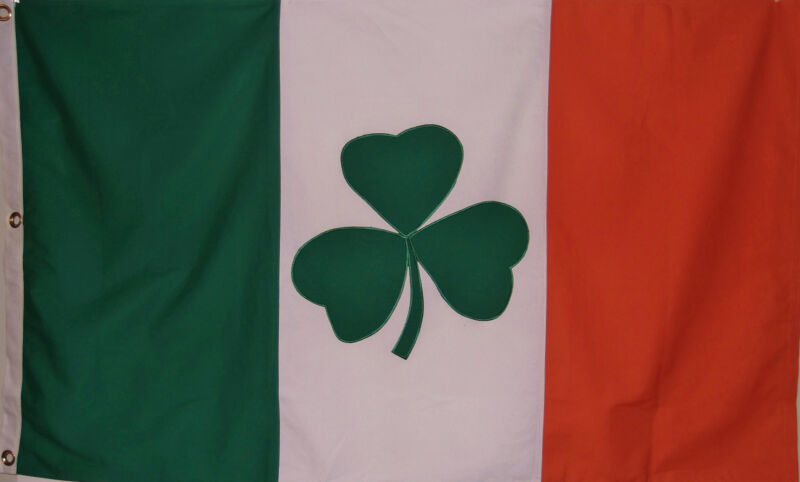 HEAVy COTTON 3 X 5 IRELAND FLAG WITH SHAMROCK - GREEN WHITE ORANGE IRISH BANNER