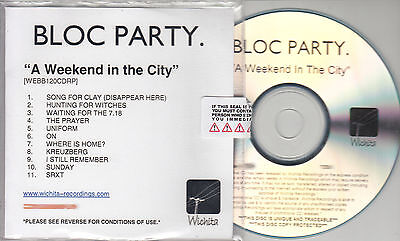 Partycity Number (BLOC PARTY A Weekend In The City UK 11-trk watermarked & numbered promo test)
