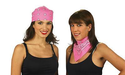 Bandana Kopftuch Halstuch Trachtentuch pink Cowgirl Trachten Hippie - Rosa Cowgirl Kostüme