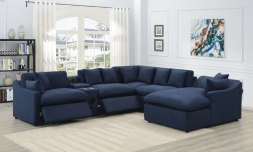 6 PC BLUE LINEN LIKE 3 POWER RECLINING SEAT CHAISE HIFI SYSTEM CONSOLE SECTIONAL