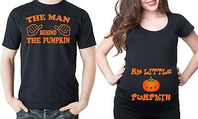 Pregnancy Halloween Funny Couple Pumpkin Maternity Halloween Costume T-shirts ](Maternity Halloween Pumpkin Shirts)