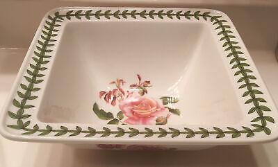 "Portmeirion Botanic Roses Square Salad Bowl 8.5"" Warm Wishes Rose Floral & White"