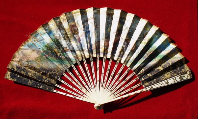 FAN EVENTAIL ANTIQUE   CARVED  STICKS AND PAINTED HAND FAN