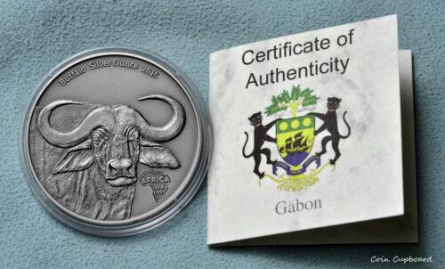 201 Congo 1000 francs - AFRICA - Buffalo, 1oz .9999 silver coin, capsule & COA