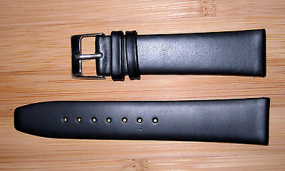 20mm Men's Flat Watch  Band/Strap Black Genuine Leather Silver Buckle
