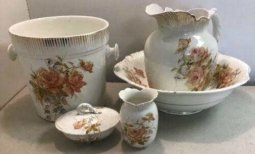 Antique Royal Vitreous Porcelain John Maddock & Sons Chamber Bath Set 1870's